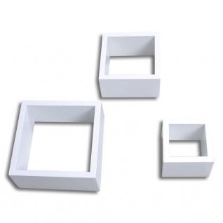 Dekorative Würfelregal Wandregal (3er Set) Weiß - Vorschau 3