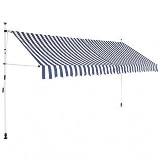 vidaXL Einziehbare Markise Handbetrieben 350 cm Blau/Weiß Gestreift