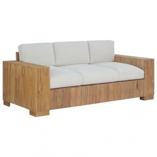 vidaXL Sofa mit Kissen 3-Sitzer Teak Massivholz