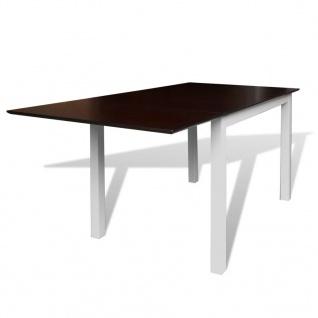 vidaXL Ausziehbarer Esstisch Gummibaum-Holz Braun und Weiß 150 cm