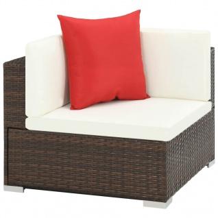 vidaXL 7-tlg. Garten-Lounge-Set mit Auflagen Poly Rattan Braun - Vorschau 4