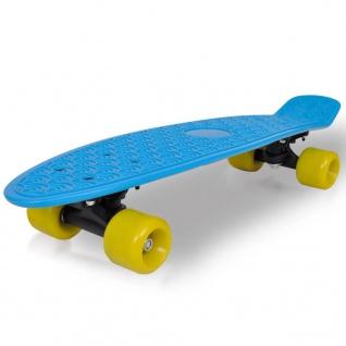"""Retro-Skateboard mit blauem Deck und gelben Rollen 6, 1"""""""