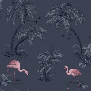 DUTCH WALLCOVERINGS Tapete Flamingo Benzin Blau
