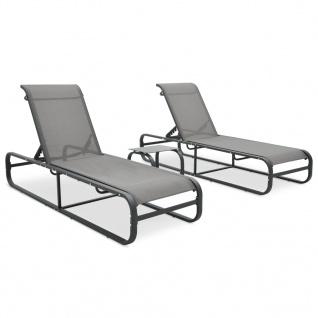 vidaXL Sonnenliegen 2 Stk. mit Tisch Textilene und Aluminium