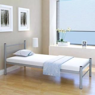 vidaXL Einzelbett mit Memory Matratze Metall Grau 90x200 cm
