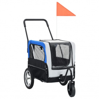 vidaXL 2-in-1 Tier-Fahrradanhänger und Jogger Grau und Blau