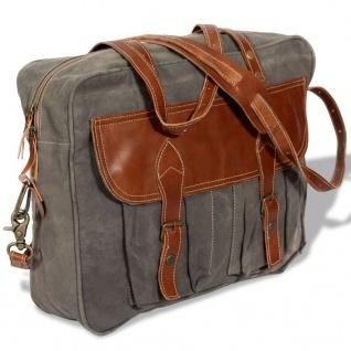 vidaXL Handtasche Canvas und Echtleder Grau
