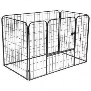 vidaXL Schwerlast-Laufstall für Hunde Schwarz 120×80×70 cm Stahl