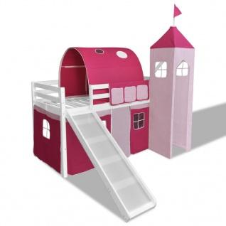 vidaXL Kinderhochbett mit Rutsche & Leiter Holz Rosa
