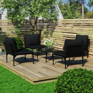 vidaXL 5-tlg. Garten-Lounge-Set mit Auflagen Schwarz PVC