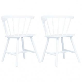 vidaXL Esszimmerstühle 2 Stk. Weiß Gummiholz Massiv