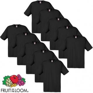 10 x Fruit of the Loom Original T-Shirt 100% Baumwolle Schwarz L