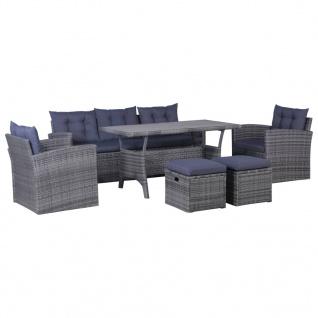 vidaXL 6-tlg. Garten-Lounge-Set mit Auflagen Poly Rattan Dunkelgrau