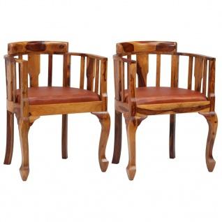vidaXL Esszimmerstühle 2 Stk. Echtleder und Sheesam-Holz Massiv