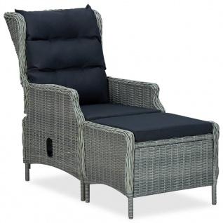 vidaXL 3-tlg. Garten-Lounge-Set mit Auflagen Poly Rattan Hellgrau - Vorschau 2
