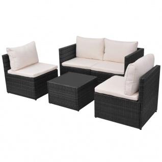 vidaXL 5-tlg. Garten-Lounge-Set mit Auflagen Poly Rattan Schwarz - Vorschau 3