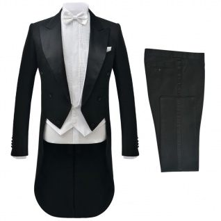 vidaXL 2-tlg. Herren Frack-Anzug Schwarz Größe 56