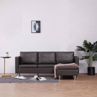 vidaXL 3-Sitzer-Sofa mit Kissen Grau Kunstleder