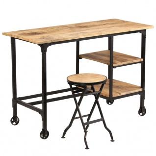 vidaXL Schreibtisch mit Klapphocker Massives Mangoholz 115x50x76 cm