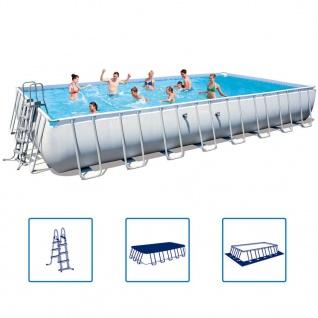 Bestway Power Steel Stahlrahmen Schwimmbadset rechteckig 956x488x132cm