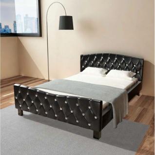 vidaXL Doppelbett mit Matratze Kunstleder Schwarz 140 x 200 cm