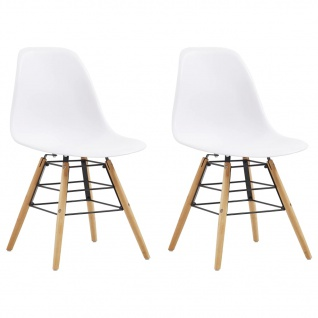 vidaXL Esszimmerstühle 2 Stk. Weiß Kunststoff