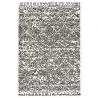 vidaXL Berberteppich Hochflor PP Grau und Beige 80 × 150 cm