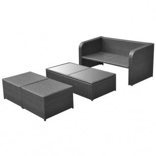 vidaXL 4-tlg. Garten-Lounge-Set mit Auflagen Poly Rattan Schwarz - Vorschau 4