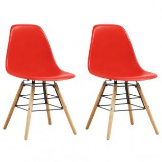 vidaXL Esszimmerstühle 2 Stk. Rot Kunststoff