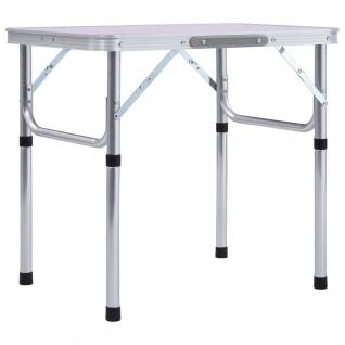 vidaXL Klappbarer Campingtisch Weiß Aluminium 60 x 45 cm