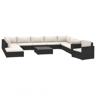 vidaXL 11-tlg. Garten-Lounge-Set mit Auflagen Poly Rattan Schwarz - Vorschau 2