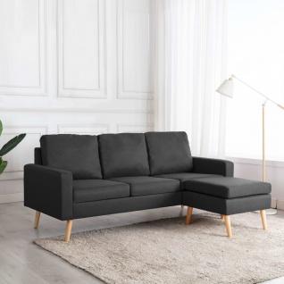 vidaXL 3-Sitzer-Sofa mit Hocker Dunkelgrau Stoff