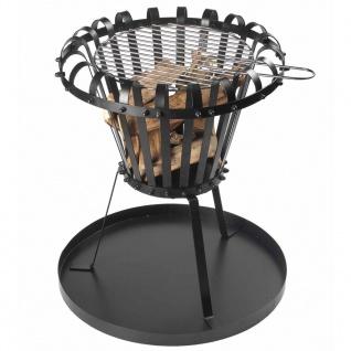 Perel Feuerkorb mit Asche-Auffangblech Rund Schwarz BB650