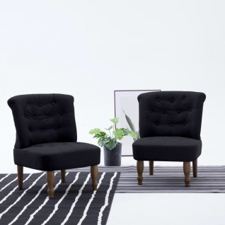 vidaXL Französische Stühle 2 Stk. Schwarz Stoff