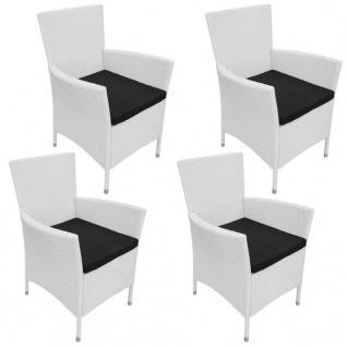 vidaXL Gartenstühle 4 Stk. mit Polstern Poly Rattan Cremeweiß