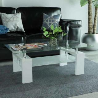 vidaXL Hochglanz Couchtisch mit Zwischenboden 110×60×40 cm Weiß