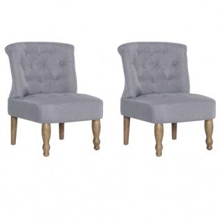 vidaXL Französische Stühle 2 Stk. Hellgrau Stoff - Vorschau 3