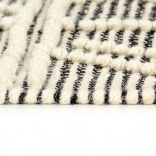 vidaXL Teppich Handgewebt Wolle 140×200 cm Schwarz/Weiß - Vorschau 5