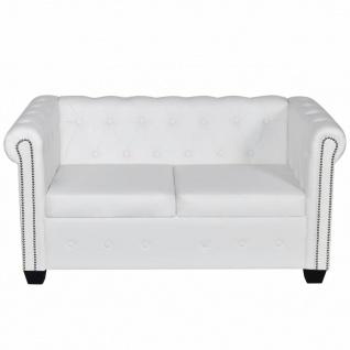 vidaXL Chesterfield Sofa 2-Sitzer Kunstleder Weiß - Vorschau 3