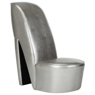 vidaXL Stuhl in Stöckelschuh-Form Silbern Kunstleder
