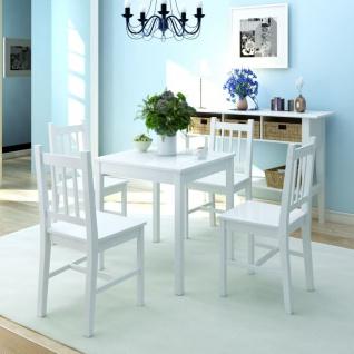 vidaXL Fünfteiliges Esstisch-Set Pinienholz Weiß