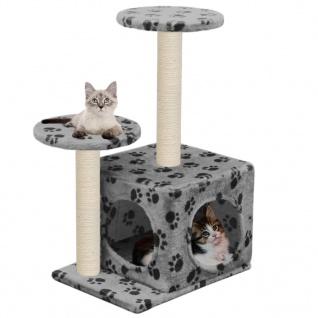 vidaXL Katzenbaum mit Sisal-Kratzsäule 60 cm Grau Pfoten-Aufdruck