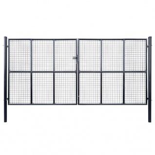 vidaXL Mesh-Gartentor Verzinkter Stahl 400 x 200 cm Grau