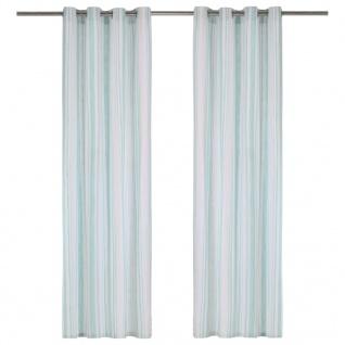 vidaXL Vorhänge mit Metallösen 2 Stk Baumwolle 140x175cm Blau Streifen