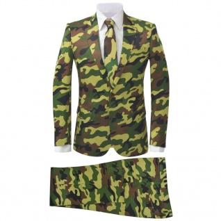 vidaXL 2-tlg. Herren-Anzug mit Krawatte Camouflage-Muster Größe 50
