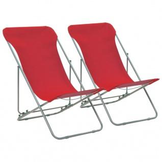 vidaXL Klappbare Strandstühle 2 Stk. Stahl und Oxford-Gewebe Rot