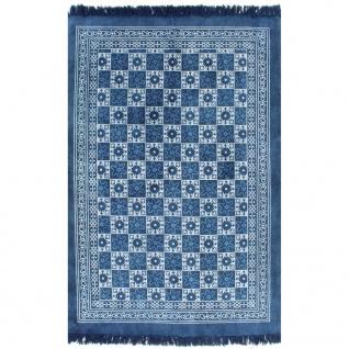 vidaXL Kelim-Teppich Baumwolle 160x230 cm mit Muster Blau