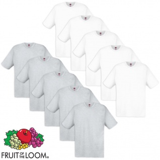 Fruit of the Loom Original T-Shirt 10 Stk 100% Baumwolle Weiß/Grau