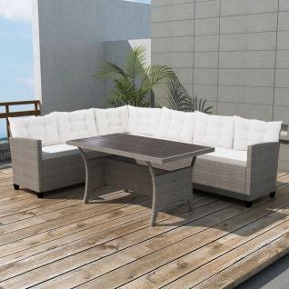 vidaXL 3-tlg. Garten-Lounge-Set mit Auflagen Poly Rattan Grau - Vorschau 1