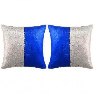 vidaXL Kissen-Set mit Pailletten 2 Stk. 60 x 60 cm Blau und Silbern